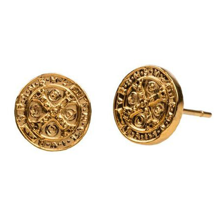 My Saint My Hero Benedictine Goldtone Stud Earrings