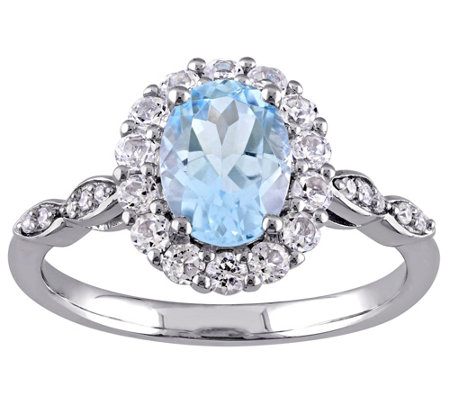 2.10 cttw Blue Topaz & Diamond Accent Ring, 14K