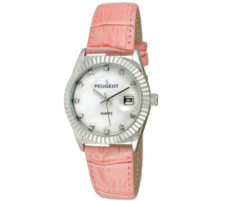 Peugeot Women S Silvertone Coin Bezel Pink Leather Watch
