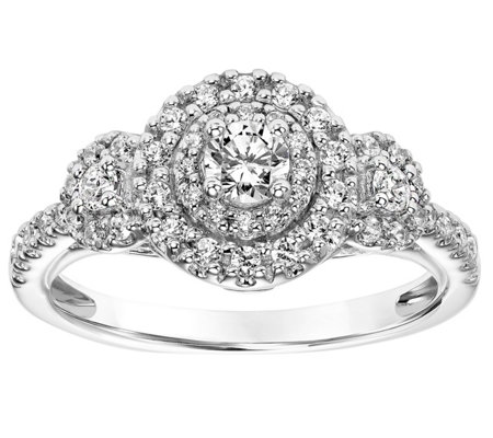 Round Three Stone Diamond Ring, 14K, 4/10 cttw,by Affinity