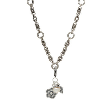 Sterling Silver Cultured Pearl & Flower Charm 20