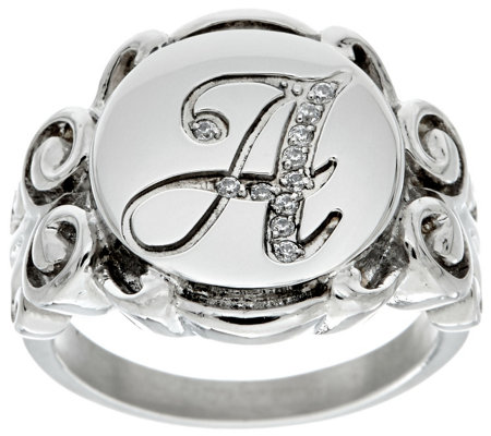Stainless Steel Crystal Signet Initial Ring