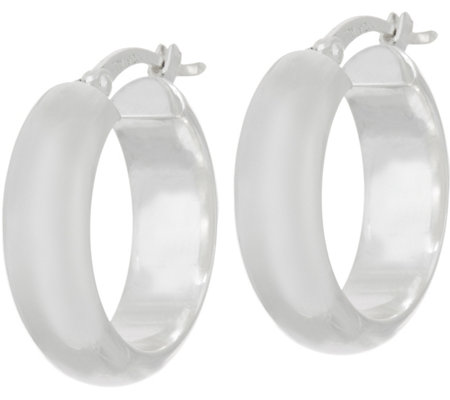 "Sterling Silver 3/4"" Polished Hoop Earrings by Silver Style"