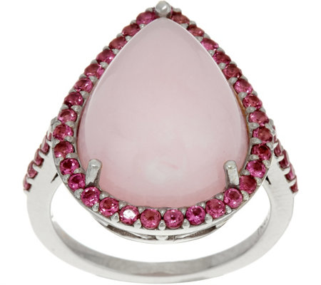 Pink Opal & Pink Tourmaline Sterling Pear Shaped Ring