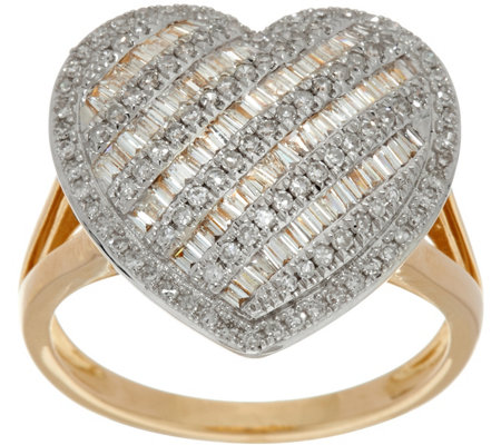 Baguette & Round Diamond Heart Shaped Ring, 14K Gold by Affinity