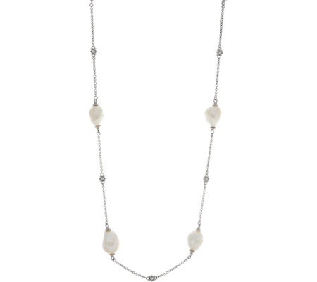 "Judith Ripka Sterling or 14K Clad Cultured Pearl Station 36"" Necklace"
