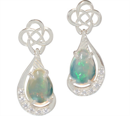 JMH Jewellery Sterling Silver Earrings with Opal Teardrops