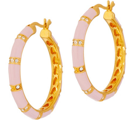 Lauren G Adams Enamel Bamboo Motif Hoop Earrings