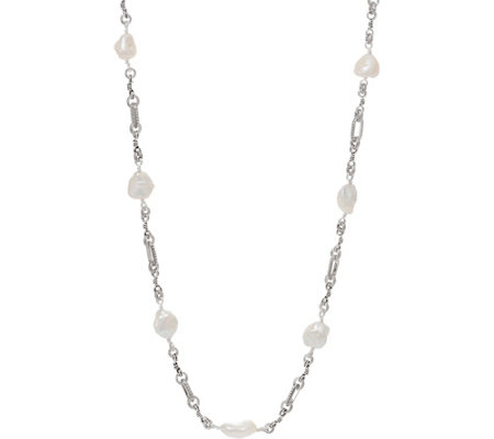 "Stephen Dweck Sterling Silver 36"" Pearl Station Necklace"