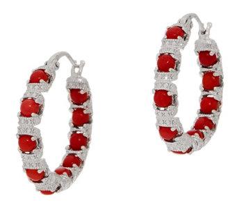 Gemstone Diamond Cut Inside Out Hoop Earrings Sterling Silver J355395