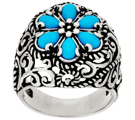 """As Is"" Carolyn Pollack Sleeping Beauty Turquoise Cluster Ring"
