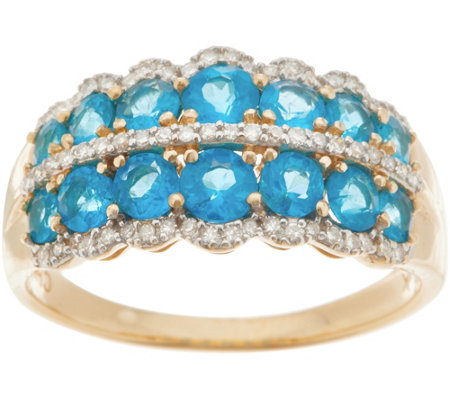 Neon Apatite Band Ring, 1.20 cttw, 14K Gold