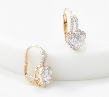Affinity 14k Gold Heart Diamond Cluster Drop Earrings 1 2 Cttw