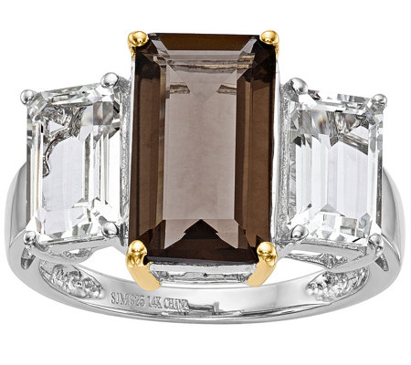 Sterling/14K 2.90 ct Smokey Quartz & White Topaz Ring