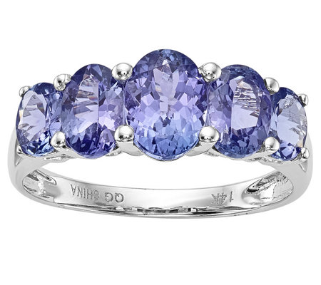14K White Gold 4.50 cttw 5-Stone Oval Tanzanite Ring