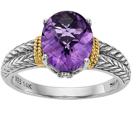 Sterling & 14K 2.15 ct Oval Amethyst Ring