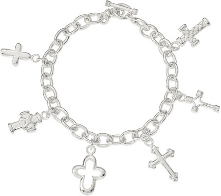 Sterling Multi-Cross Dangle Bracelet, 18.4g bySilver Style