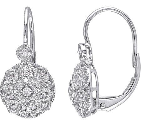 Diamond Filigree Earrings 14k White Gold 1 8cttw Affinity