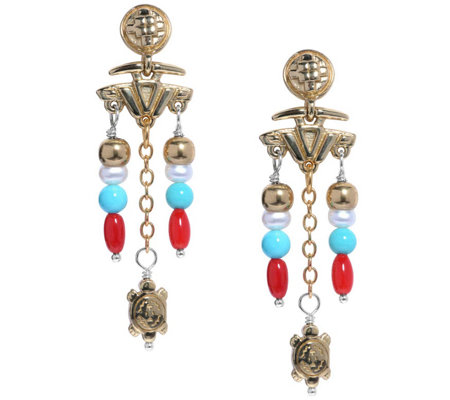 American West Sterling & Brass Santa Fe Charm Beaded Earrings