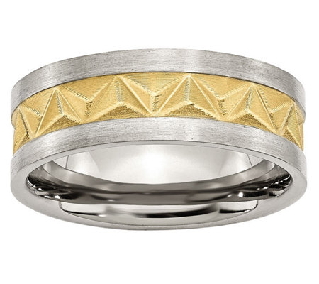 Steel by Design Men's Two-Tone Grooved 8mm Brushed Band Ring