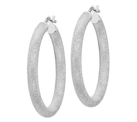 Italian Gold Satin Round Hoop Earrings 14k