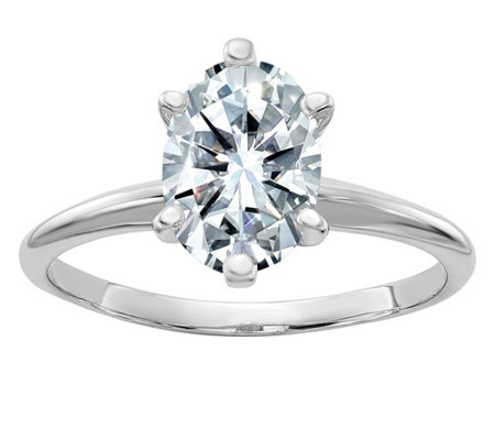 Moissanite 2.10 cttw Oval Solitaire Ring , 14K