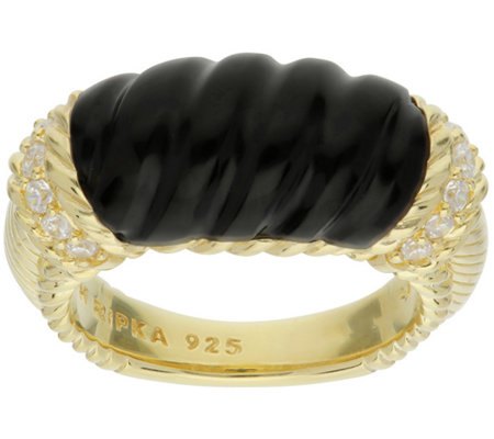 Judith Ripka 14k Gold Clad Carved Onyx Ring