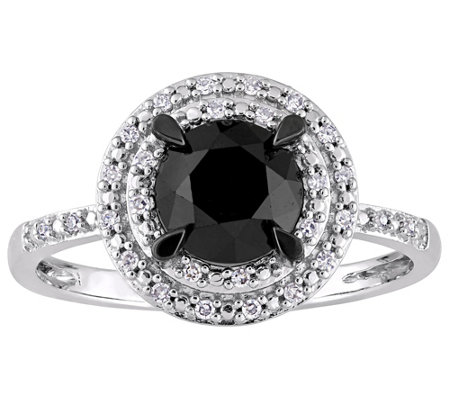 Affinity 1.50 cttw Black & White Diamond Halo Ring, 14K