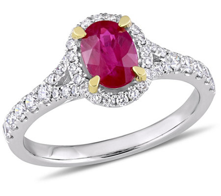 14k 0 90 Cttw Ruby 4 10 Cttw Diamond Halo Ring