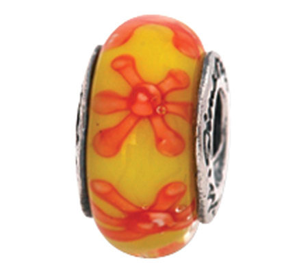 Prerogatives Sterling Yellow and Orange Glass Bead
