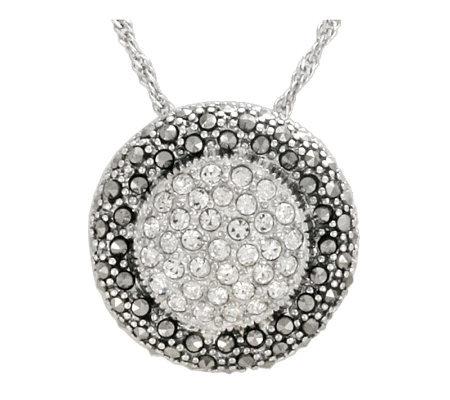 Suspicion Sterling Marcasite and Crystal RoundPendant w/Chain