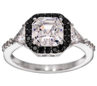 Diamonique Black & Clear Asscher Cut Ring, Platinum Clad - J276996