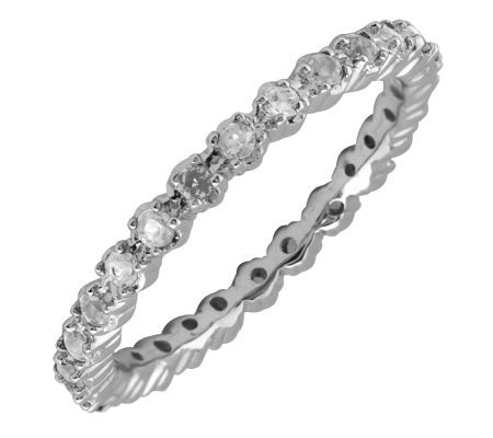 Simply Stacks Sterling White Topaz & Diamond Stackable Ring