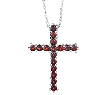 "Sterling Gemstone Cross Pendant with 18"" Chain"