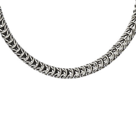 "Stainless Steel 18"" Fancy Square Spiga Chain Necklace"