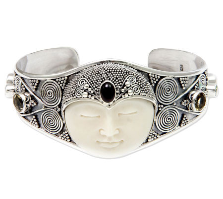 Novica Artisan Crafted Sterling 'Queen' Cuff