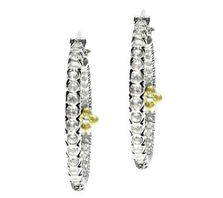 Barbara Bixby Sterling/18K White Topaz Hoop Earrings
