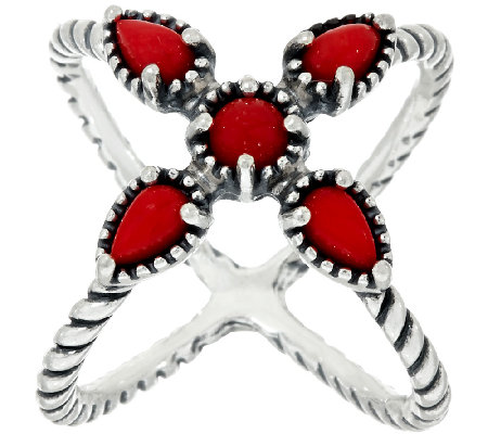 Carolyn Pollack Sterling Silver Red Coral X Ring