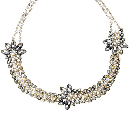"""As Is"" Luxe Rachel Zoe Simulated Stone & Simulated Pearl Necklace"