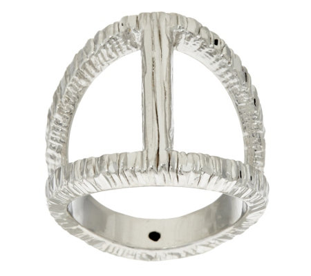 """As Is"" Italian Silver Sterling Elongated Diamond Cut Status Ring"