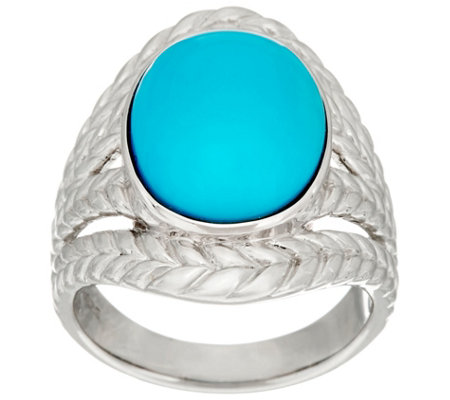 Bold Sleeping Beauty Turquoise Braided Sterling Ring