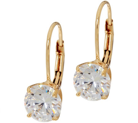 Diamonique 2 00 Cttw Round Leverback Earrings 14k Gold