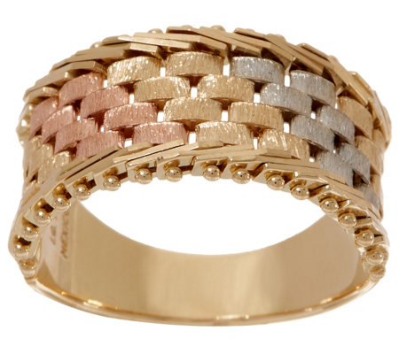 Imperial Gold Tri-Color Basketweave Band Ring, 14K Gold
