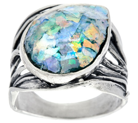 """As Is"" Or Paz Sterling Silver Roman Glass Bold Ring"