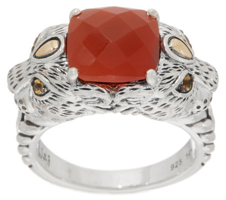 JAI Sterling Silver & 14K Gold Double Leo Head Gemstone Ring