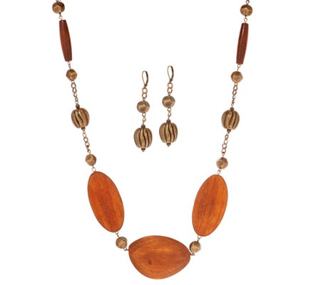 Linea by Louis Dell'Olio Multi-Shaped Wood Bead Necklace Set
