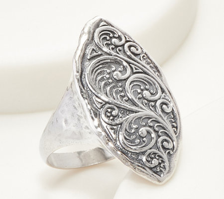 Or Paz Sterling Silver Filigree Marquise Ring