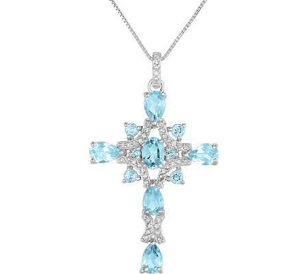 Sterling 3.00 cttw Blue & White Topaz Cross w/Chain