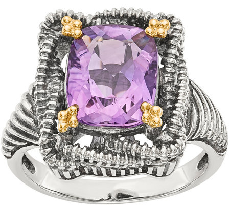 Sterling & 14K Cushion Gemstone Ring