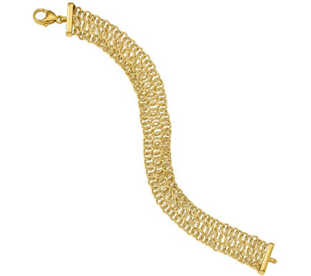 14K Triple-Loop Woven Polished and Textured Bracelet